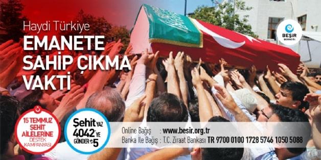 Sosyal ve Kültürel Yardımlar,15 Temmuz, Darbe, Kalkışma, Şehitler köprüsü, Fetö terör örgütü, Şehitler kampanyası